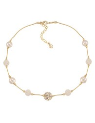 Carolee Glass Stone And Pave Pearl Necklace Pearl Gold