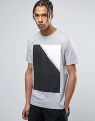 Asos Relaxed T Shirt With Block Print Grey Marl