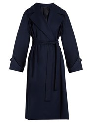 The Row Swells Belted Gabardine Coat Navy