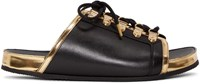 Balmain Black And Gold Lace Up Sandals