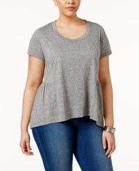 American Rag Trendy Plus Size Cotton Peplum T Shirt Only At Macy's Heather Grey