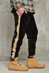 Forever 21 Stripe Velour Sweatpants Black Gold