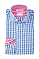 Isaac Mizrahi Blue Check Spread Collar Long Sleeve Modern Fit Dress Shirt