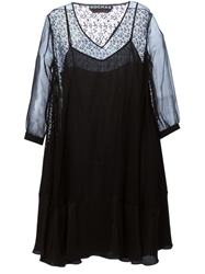 Rochas Sheer Lace Back Dress Black