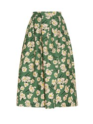 Rochas Magnolia Print Cotton Midi Skirt Green Multi