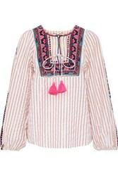 Figue Caraiva Embroidered Striped Cotton Blend Poplin Blouse Ivory