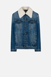 Ami Alexandre Mattiussi Denim Jacket With Shearling Blue
