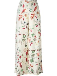 Tory Burch High Waist Printed Trousers Nude And Neutrals