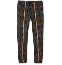 Saint Laurent Tapered Striped Cotton And Silk Blend Trousers