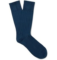 John Smedley Delta Ribbed Sea Island Cotton Blend Socks Indigo