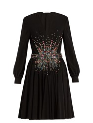 Miu Miu Plunging Embellished Silk Mini Dress Black Multi