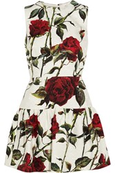 Dolce And Gabbana Floral Print Cotton Blend Brocade Mini Dress White