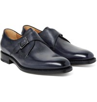 Berluti Polished Leather Monk Strap Shoes Gray