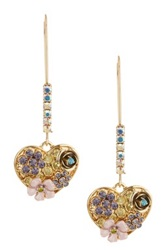 Betsey Johnson Pave Heart Shepherds Hook Earrings Multi