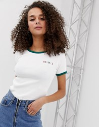 Miss Selfridge Slogan Tee With Contrast Tipping In White