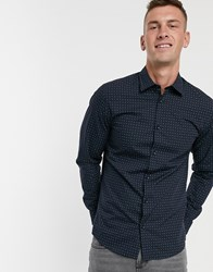 Selected Homme Slim Fit Dotted Print Shirt Navy