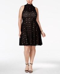 Inc International Concepts Plus Size Lace Fit And Flare Dress Only At Macy's Deep Black