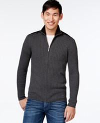 Dkny Contrast Zip Sweater Dark Heather Grey