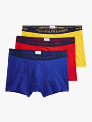 Ralph Lauren Polo Contrast Waistband Trunks Pack Of 3 Blue Red Yellow