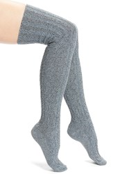 Peony And Moss Women's Marled Cable Knit Thigh High Socks Charcoal