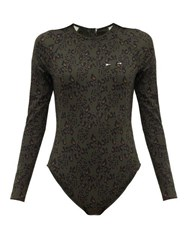 The Upside Army Leopard Print Stretch Jersey Paddle Suit Leopard