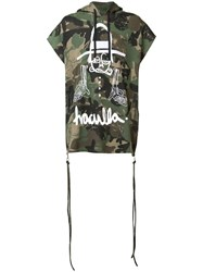 Haculla Camouflage Print Shortsleeved Hoodie Men Cotton M Green
