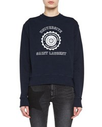 Saint Laurent Crewneck University Emblem Sweatshirt Blue White