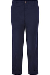 Golden Goose Deluxe Brand Cotton Twill Wide Leg Pants Navy