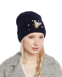 580cd5a232235 Jennifer Behr Embellished Bee Knit Beanie Hat Navy