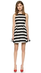 Alice Olivia Chase Box Pleat Dress Black Silver