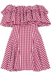 House Of Holland Off The Shoulder Ruffled Gingham Poplin Mini Dress Red