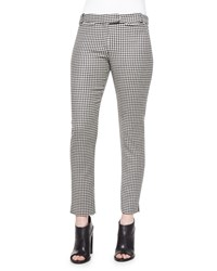Veronica Beard Classic Houndstooth Cigarette Trousers Black White Size 10