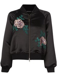 Josie Natori Embroidered Bomber Jacket Black