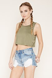 Forever 21 Lace Up Sides Crop Top