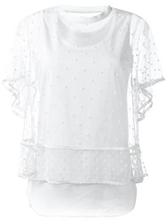 Chloe Embroidered Polka Dot Tulle Top White