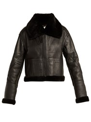 Saint Laurent Aviator Leather And Shearling Jacket Black