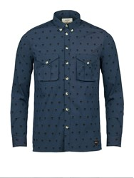 Realm And Empire All Over Print Button Down Collar Shirt Navy
