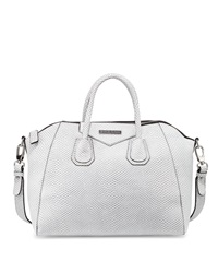 Charles Jourdan Willow 2 Snake Embossed Leather Satchel Bag White