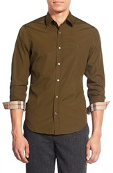 Men's Burberry Brit 'Cambridge Aboyd' Trim Fit Sport Shirt Olive Green