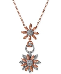 Effy Collection Effy Diamond Flower Pendant Necklace 1 2 Ct. T.W. In 14K White And Rose Gold