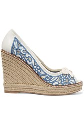 Tory Burch Lucia Embroidered Mesh And Leather Wedge Espadrilles White