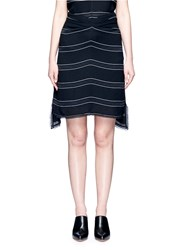 Proenza Schouler Pinstripe High Low Hem Gathered Skirt Black Multi Colour