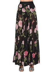 Giambattista Valli Long Floral Print Silk Georgette Skirt Black Multi