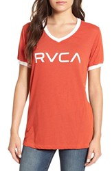 Women's 'Big Rvca' Graphic V Neck Ringer Tee Red Rust