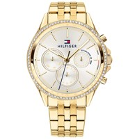 Tommy Hilfiger 'S Ari Chronograph Crystal Bracelet Strap Watch Gold White 1781977