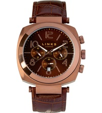 Links Of London Brompton Leather Strap Chronograph Watch Brown