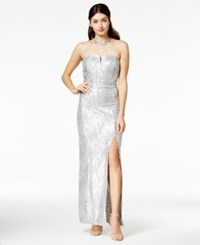 Amy Byer Bcx Juniors' Strapless Metallic Sequined Gown Silver