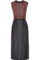 Victoria Beckham Belted Two Tone Lame Dress Blue