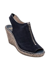 Andre Assous Rhea Suede Espadrille Wedge Sandals Navy
