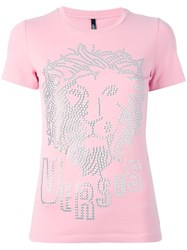 Versus Embellished Logo T Shirt Pink Purple